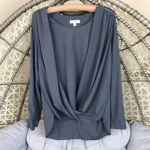 Calvin Klein V Neck Roll Sleeve Blouse - Grey